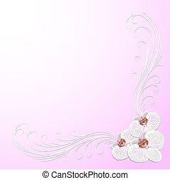Delicate corner frame with orchid flowers