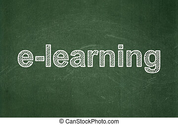 Learning concept: E-learning on chalkboard background -...