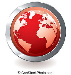 red icon earth globe - Red earth globe with metal silver...
