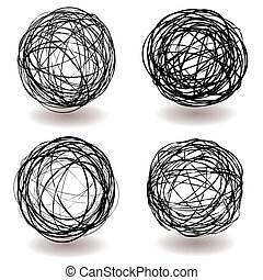 scribble ball icon - Set of scribble ball icons with pen...