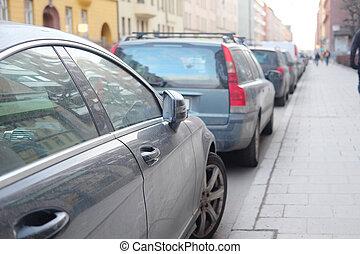 cars on a parking - Stockholm, Sweden - March, 16, 2016:...