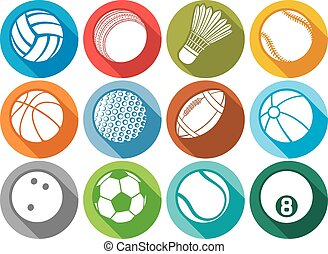 sport ball flat icons tennis, american football, soccer,...