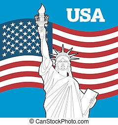 Statue of Liberty and American flag Symbol of freedom and...