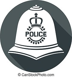 british police helmet flat icon