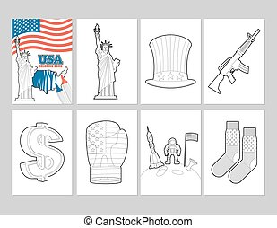 USA coloring book. Patriotic Illustrations in linear style of painting. Statue of Liberty and Uncle Sam hat. first astronaut on moon. Socks with national flag of America