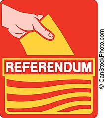 voting in the catalonia referendum - illustration of a...
