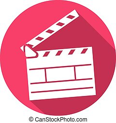 cinema clapboard flat icon