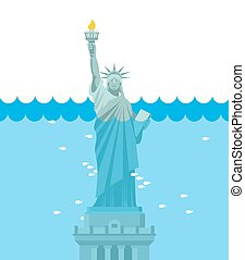 Statue of Liberty flood USA attraction underwater American...