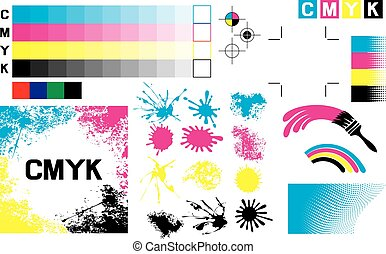 CMYK press marks (printing marks, printing color test)