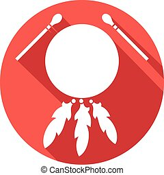 native american indian drum and sticks flat icon