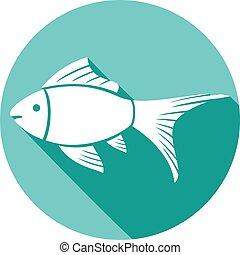 plano, pez, icono