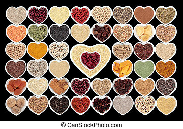 Health Food - Large dried health food in heart shaped...