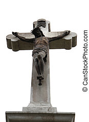 jesus and crucifix - stone jesus and crucifix as religion...