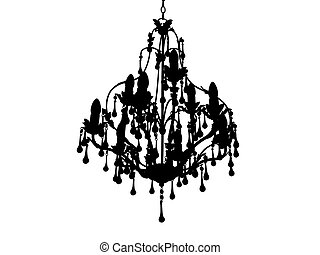 Chandelier silhoutte - Hanging chandelier silhouetted on...