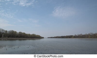 Calm river with thickets of trees and shrubs along the...