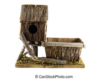 nesting box - Birdhouse from a tree on a white background...