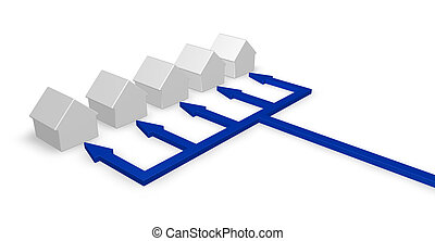 distributor - row of houses and arrows - 3d illustration
