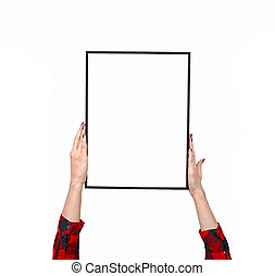Female hand holding blank boards isolated on white