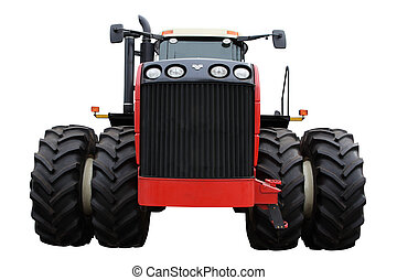 Tractor - Red tractor separately on a white background