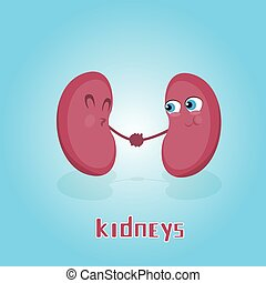Kidneys Hold Hands Smiling Cartoon Character Icon Banner...