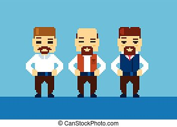 Bearded Business Man Collection Pixelated Illustration