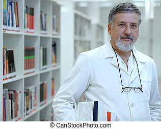 Renowned scientist/doctor in a library of research...