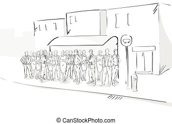Sketch People Crowd Street Bus Station Hand Drawn Outdoors...