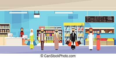 Arab People Group With Bags Big Shop Super Market Shopping...