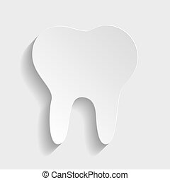 Tooth sign. Paper style icon with shadow on gray.