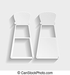 Salt and pepper sign. Paper style icon with shadow on gray.