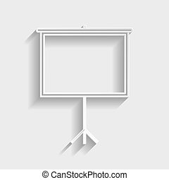 Blank Projection screen. Paper style icon with shadow on...