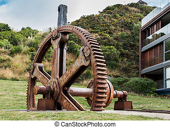 Evans Bay Gear Wheel - This old big gear wheel was used to...