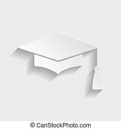 Mortar Board or Graduation Cap, Education symbol. Paper...