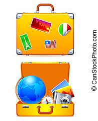 Travel suitcase - Travel suitcase with globe, compass and...
