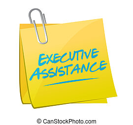executive assistance memo post sign concept illustration...