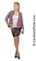 beautiful young woman clothed in a leather skirt and shirt,...