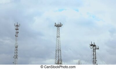 Communication Tower with clouds radio tower nature landscape...