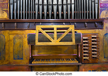Old Pipe Organ - Detail of an ancient pipe organ in an...