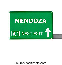 MENDOZA road sign isolated on white