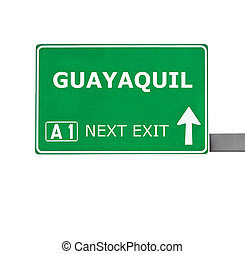 GUAYAQUIL road sign isolated on white