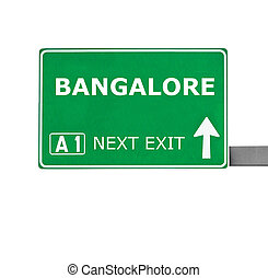 BANGALORE road sign isolated on white