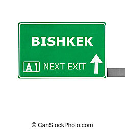 BISHKEK road sign isolated on white