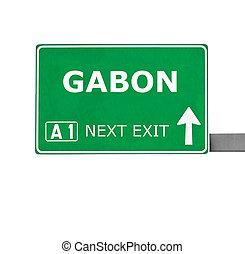 GABON road sign isolated on white