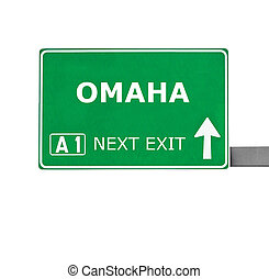 OMAHA road sign isolated on white