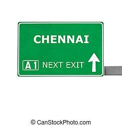 CHENNAI road sign isolated on white