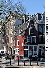 typical dutch houses in Amsterdam corner reguliersgracht...