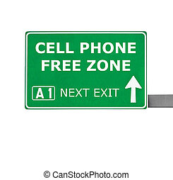 CELL PHONE FREE ZONE road sign isolated on white