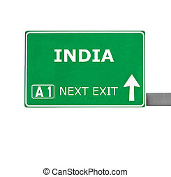 INDIA road sign isolated on white