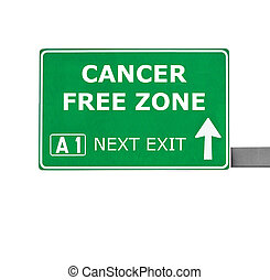 CANCER FREE ZONE road sign isolated on white