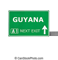 GUYANA road sign isolated on white